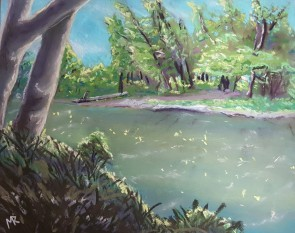 """Red River at 11am (soft pastel, 8"""" x 5"""", 2018)"""