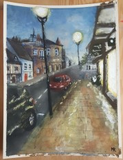 "Stratford-upon-Avon at 5pm (soft pastel, 9"" x 12"", 2018)"
